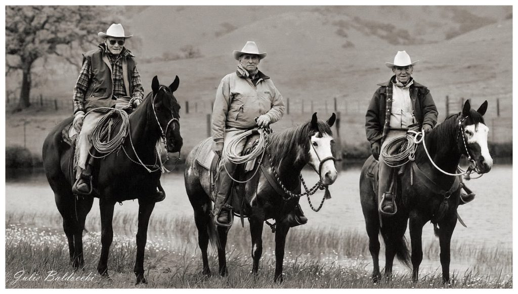 Bill Dorrance, Ray Hunt and Tom Dorrance showing three stages of the Vaquero horsemanship